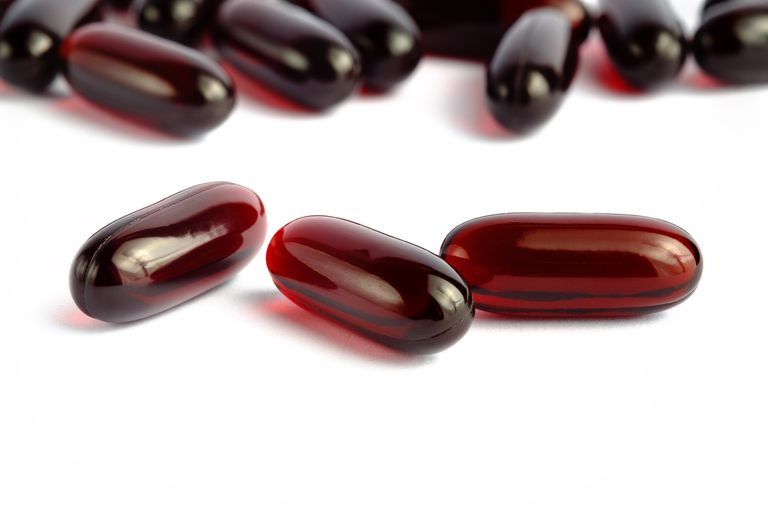 Krill oil capsules on tabletop