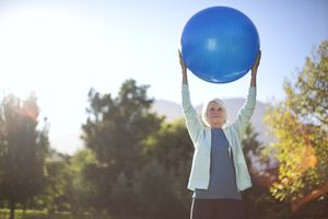 Older woman with exercise ball