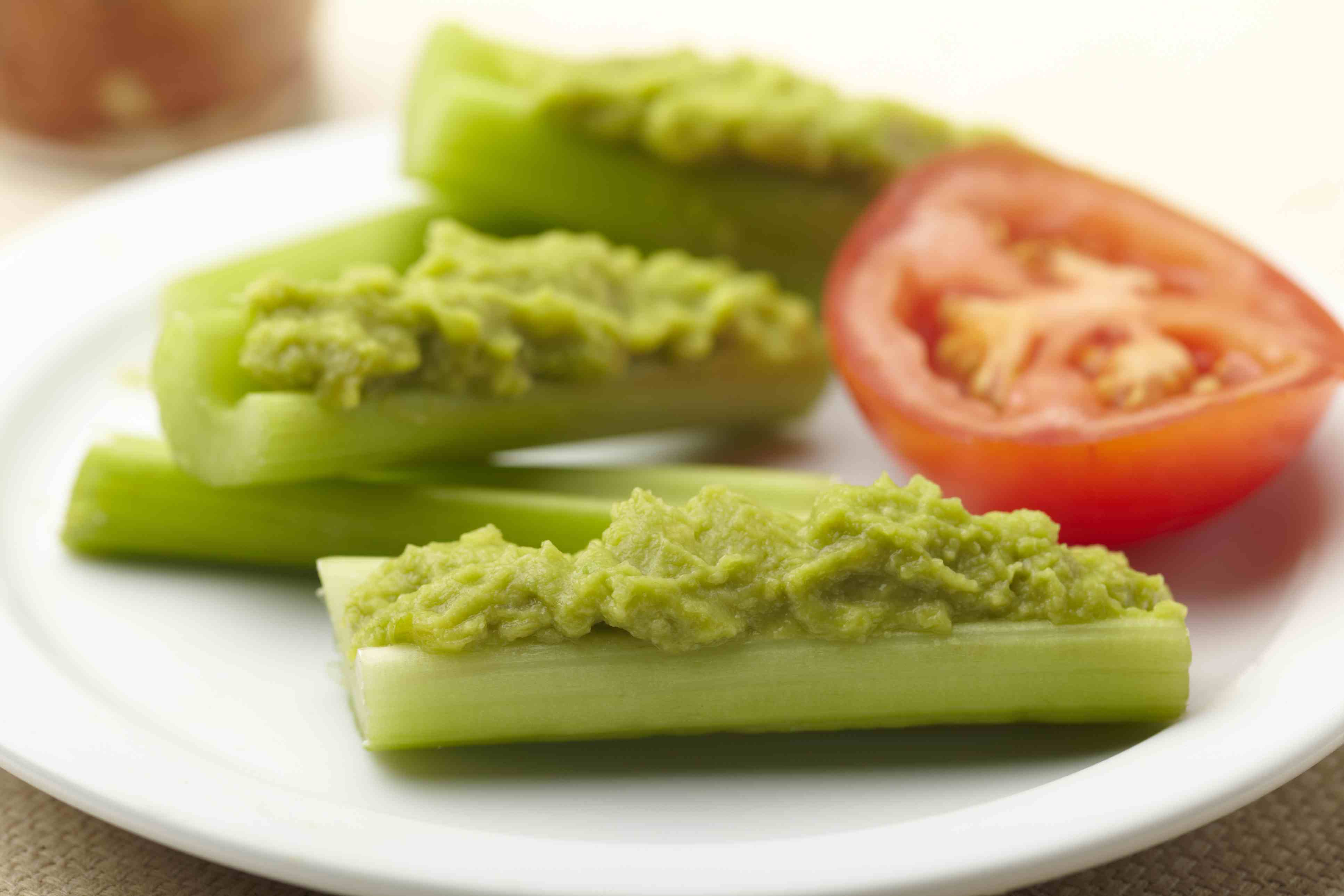 Guacamole on celery makes a great snack for work.