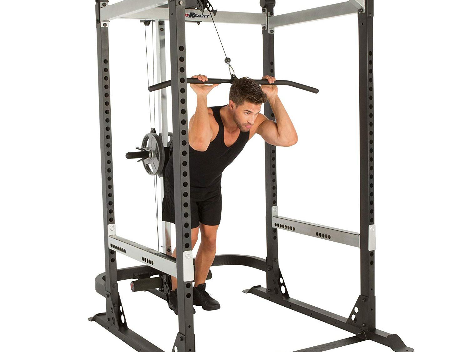 Multi-Grip Pull-up Bar and Dip Handle Vanswe Power Rack Power Cage Home Gym Equipment Exercise Stand Olympic Squat Cage with LAT Pull Attachment