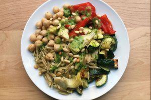 vegan grain bowl with chimichurri