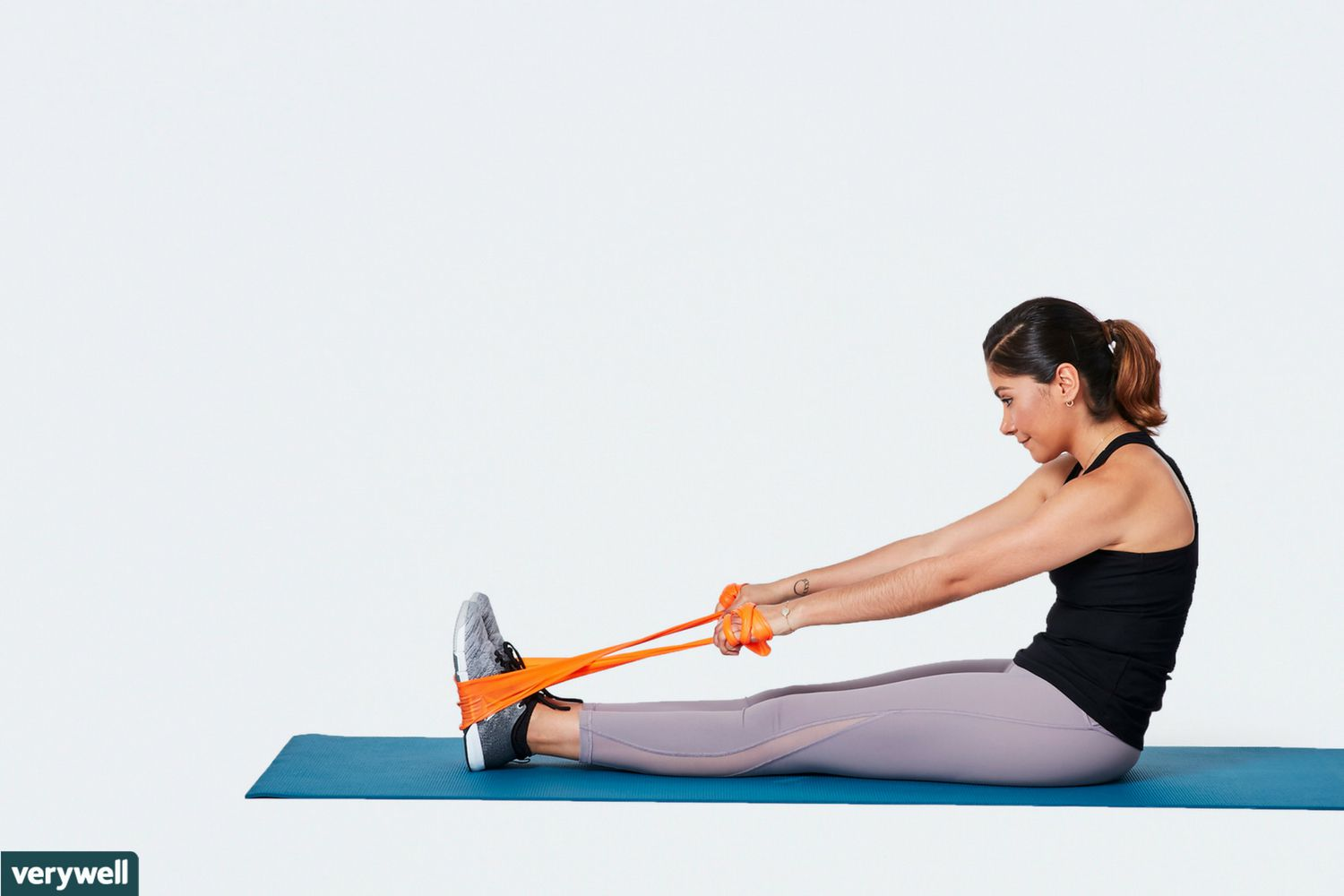 Total Body Stretching Routine With Resistance Bands Gym Ankle Strap Woman Doing Seated Upper Back Stretch