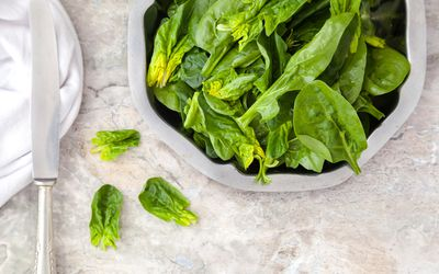 Bowl of fresh spinach