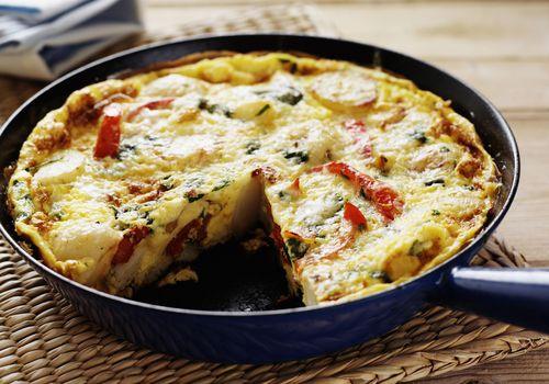 Pan de huevo y quiche de verduras