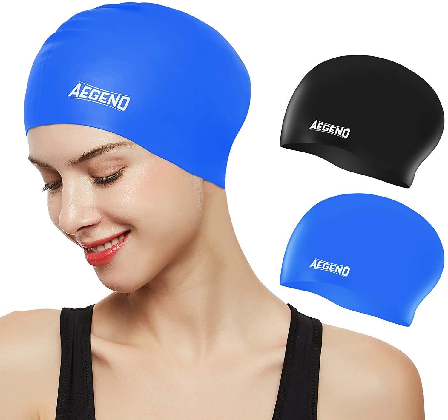 Aegend Silicone Swim Caps for Long Hair