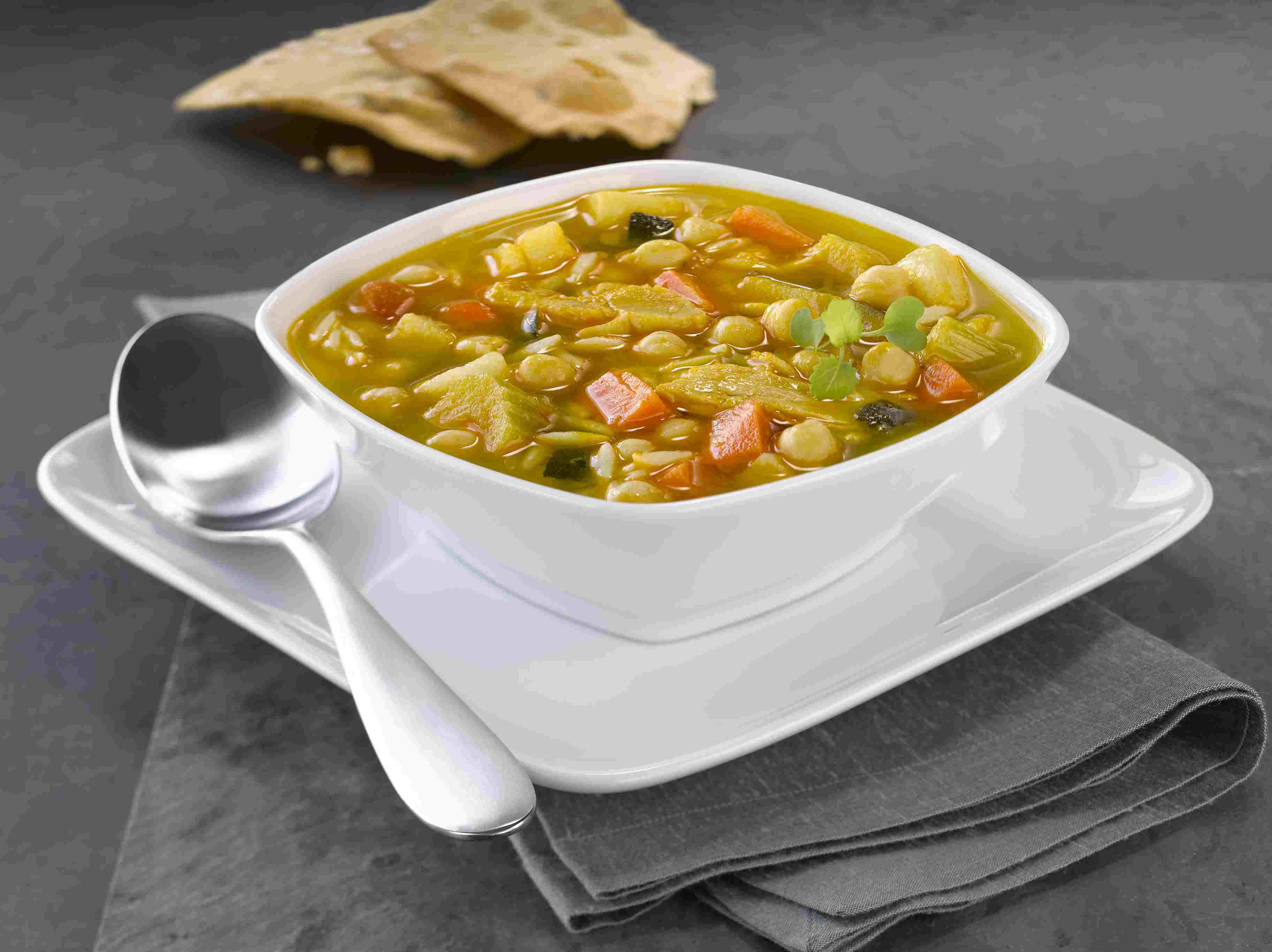 Soup with vegetables can be high in fiber.