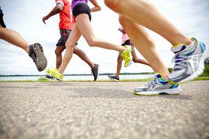 Runners' feet and legs
