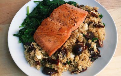 pan-seared salmon with mediterranean quinoa