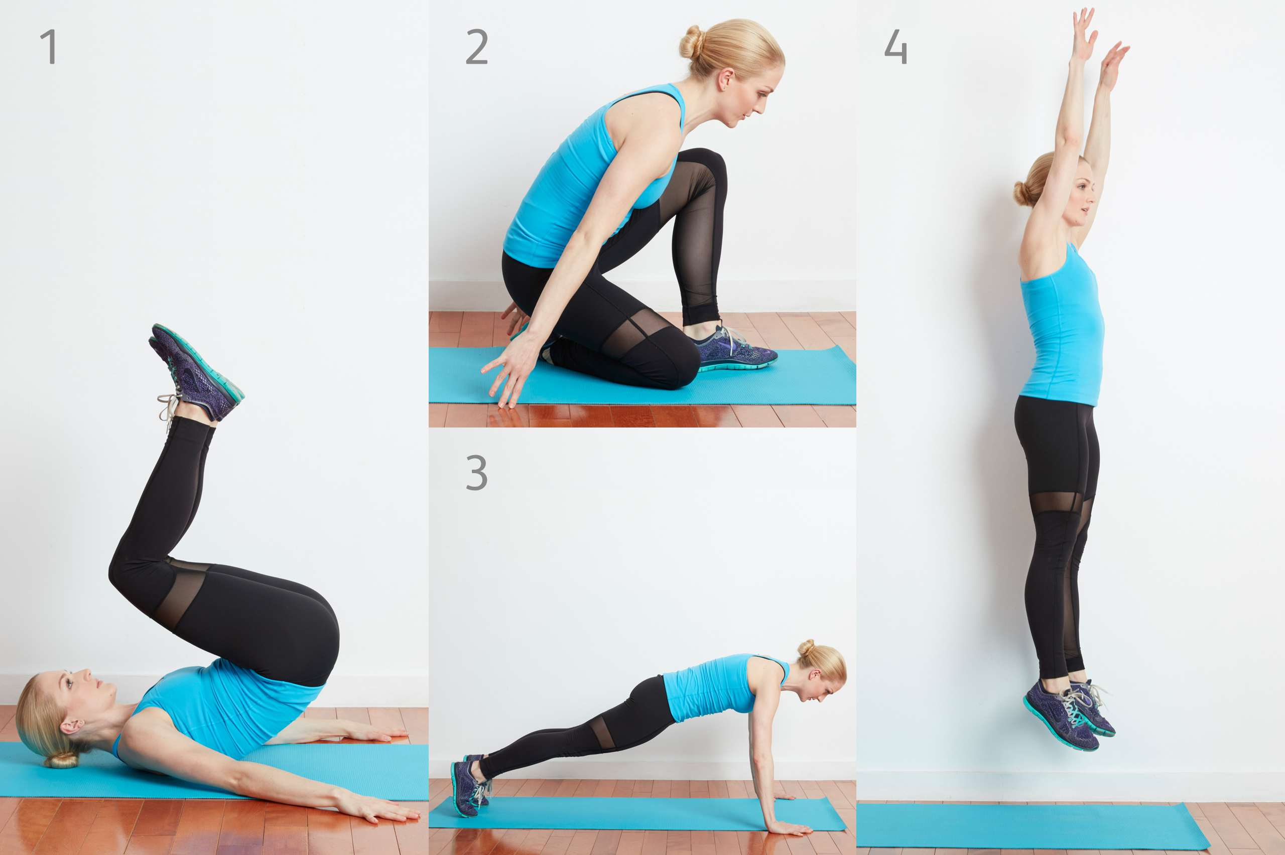 Woman doing roll-up with burpee exercise