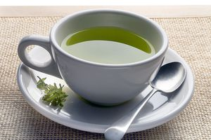 green tea on mat - stock photo