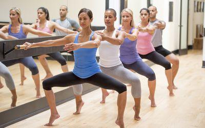 a line of exercisers doing a barre workout plié squat