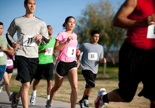 Runners competing in a 5K race
