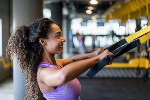 Woman doing upper back exercises