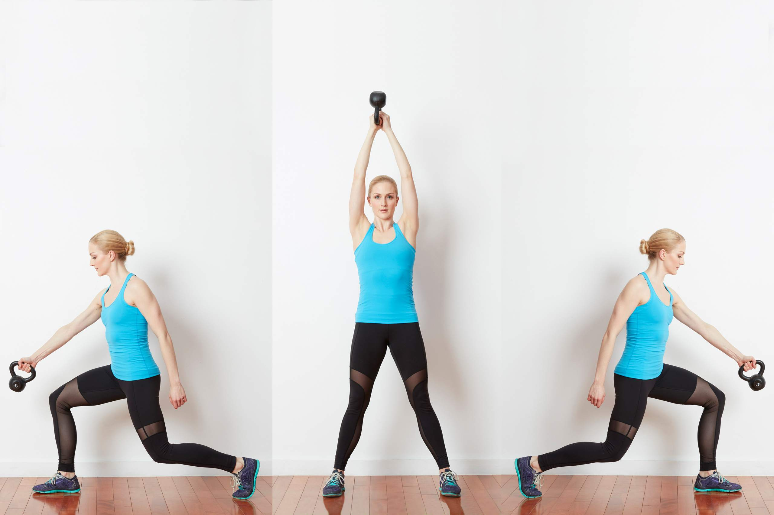 Woman doing turning lunge with kettlebell sweeps