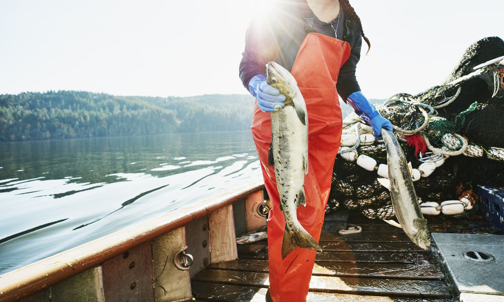Woman with salmon