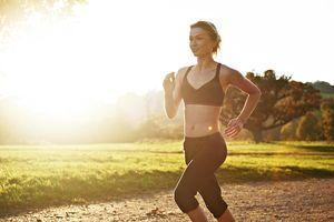 Female runner in park