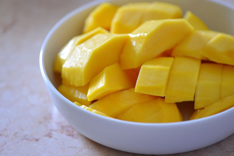 Close-Up Of Sliced Mango In Bowl On Table