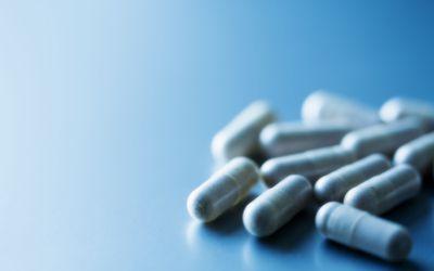 Pills on Blue Close-up