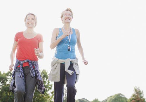 Two women walking for fitness