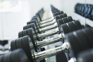 Close up of dumbbells in health club