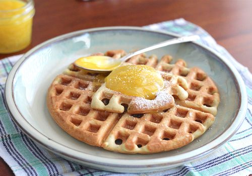waffles and key lime curd