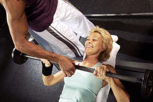 mature woman lifting weights