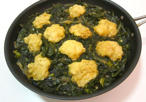 Southern Inspired Collards With Cornmeal Dumplings