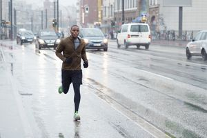 man running in rain