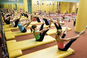 Pilates class stretching