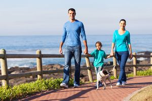 Family Walking with Child and Dog