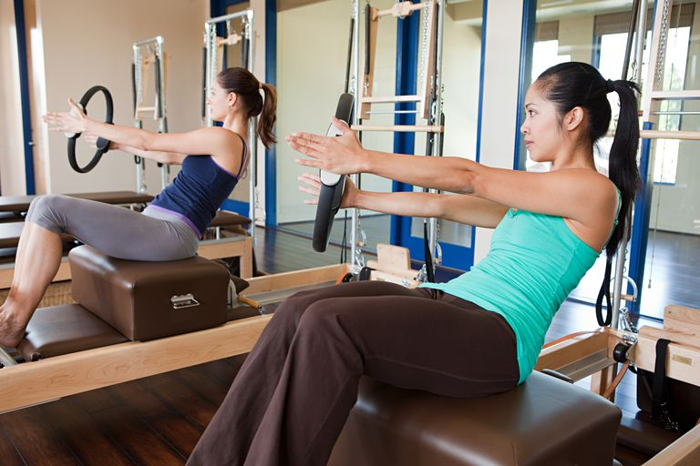 Two women doing pilates