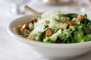 Caesar salad with croutons and parmesan cheese