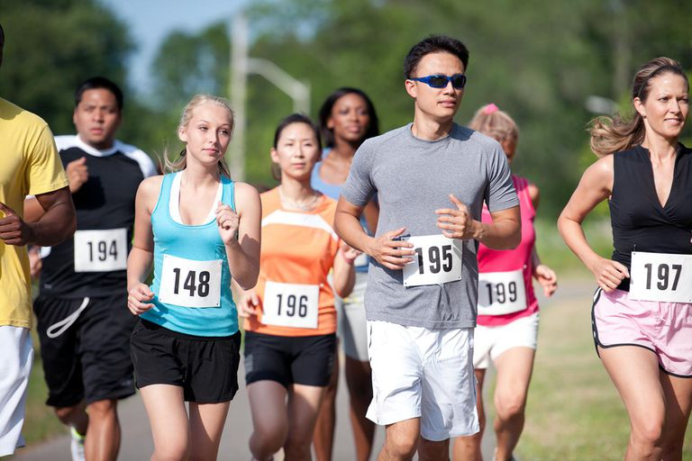 A group of runners in a cross country race.