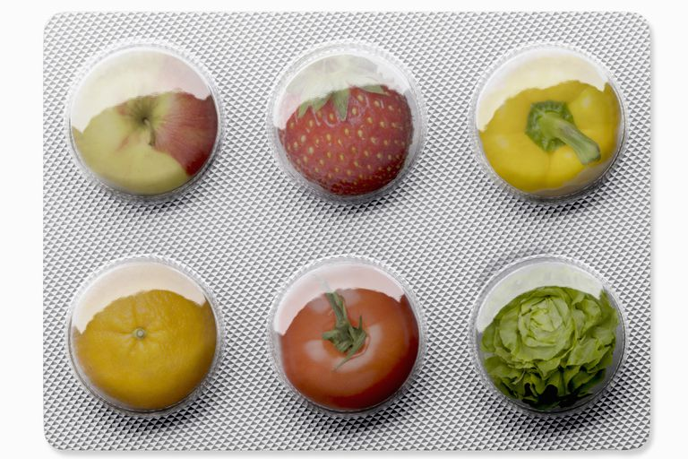 fruits in container that looks like a pill pack