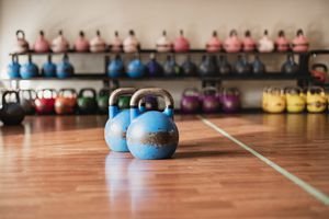 Sets of kettlebells in a gym
