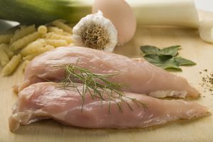 Close-up of raw chicken with ingredients
