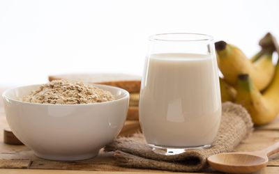 Oats and Milk on a table