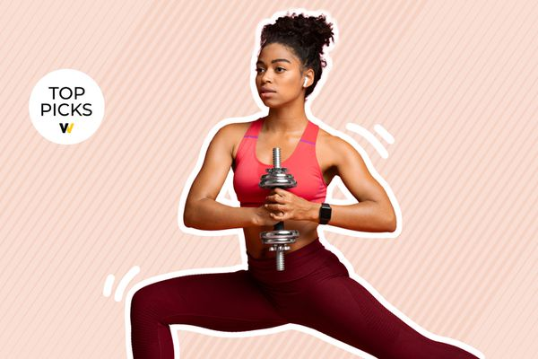 Photo composite of a woman holding a dumbbell while lunging over a pink background.