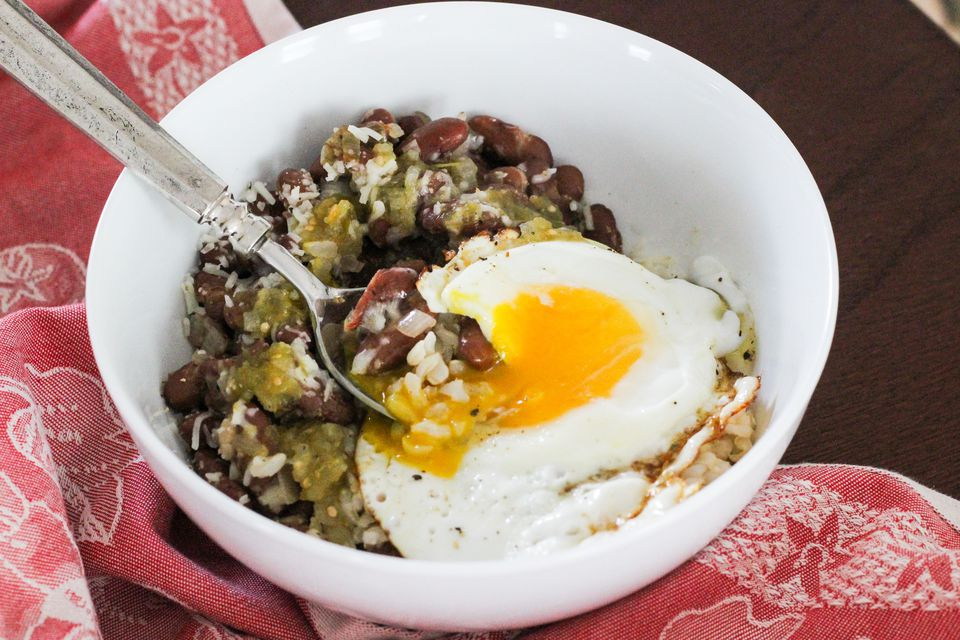 Cheesy salsa verde rice and beans bowl