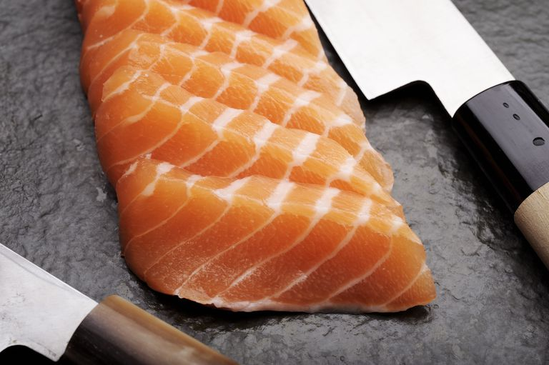 sliced salmon filet