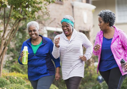 senior women walking for exercise