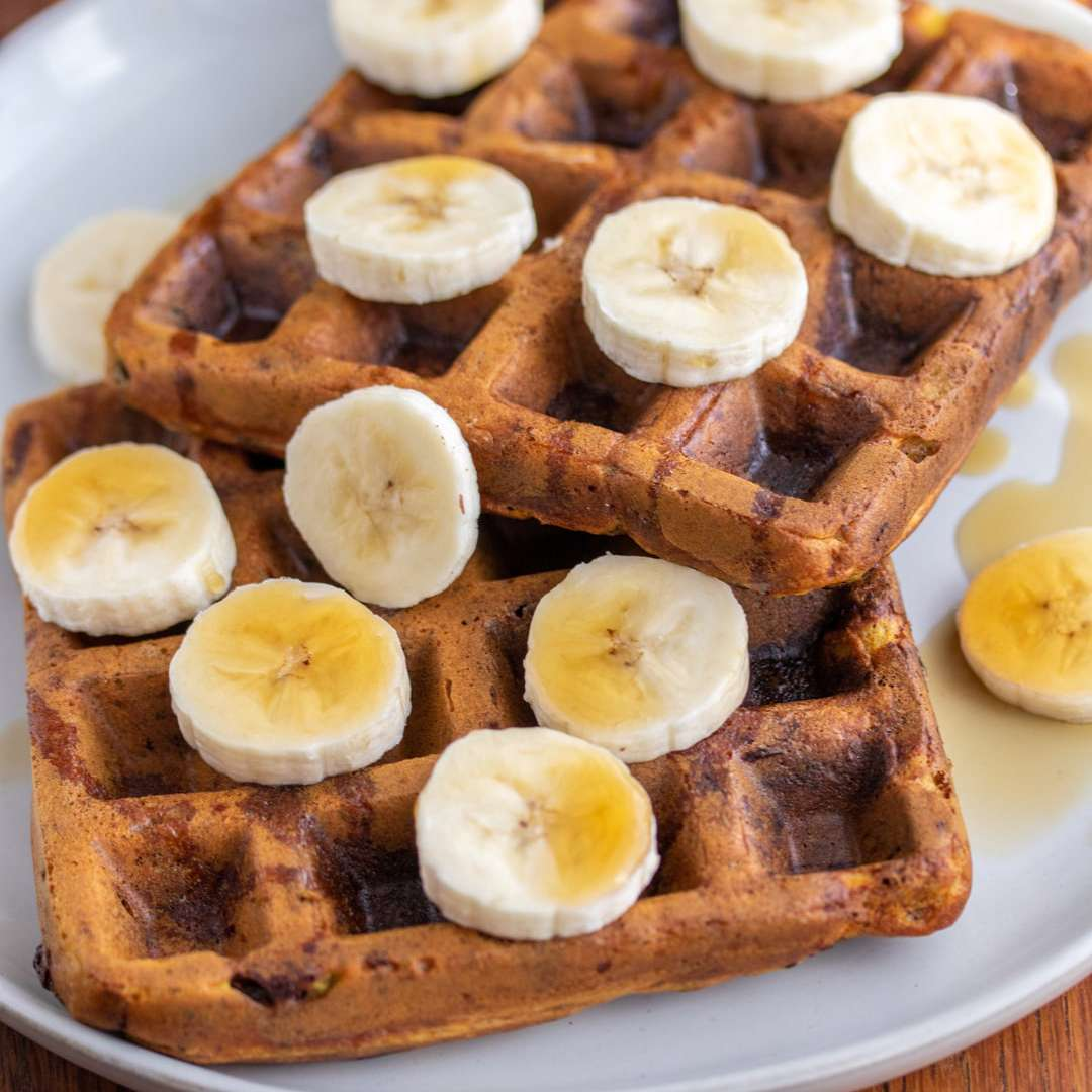 Waffles topped with bananas