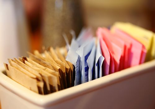 Artificial sweeteners on a table.