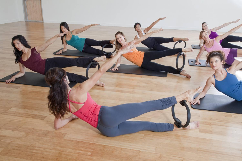 Women doing pilates class