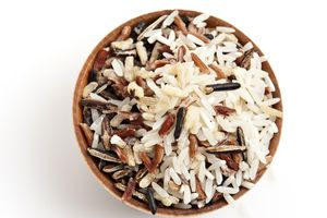 bowl of cooked wild rice blend