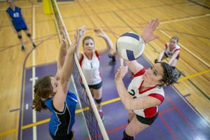 player about to spike volleyball over net