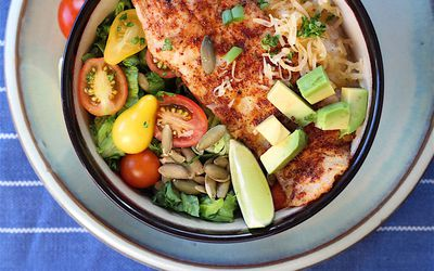 pan blackened fish with grits