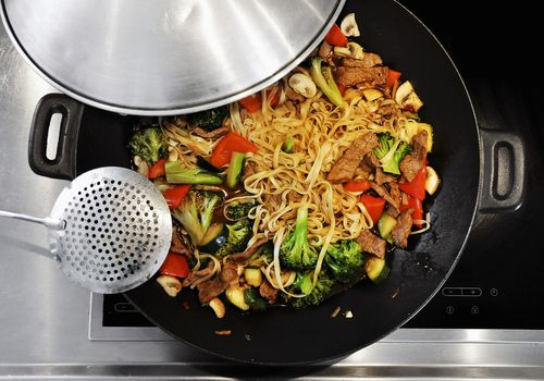 stir fry on the stove