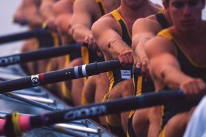 A rowing team in action