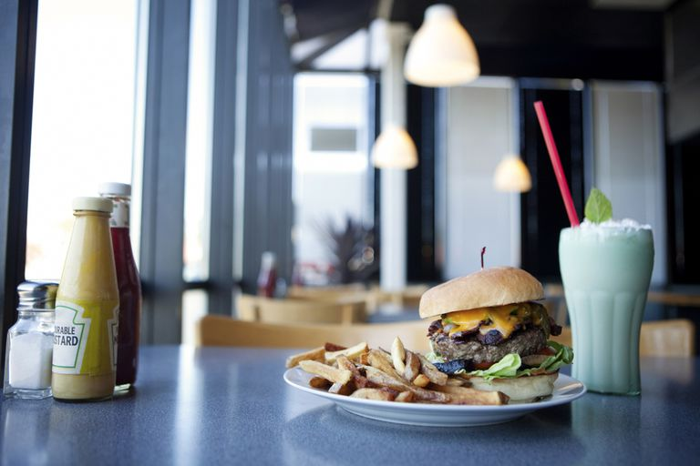 burger, fries and shake in diner